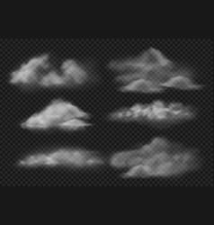 realistic fog steam fogs clouds smoke cloud vector image