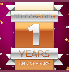 realistic one years anniversary celebration design vector image