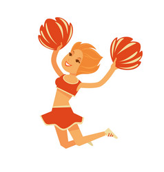 Redhead cheerleader jumps with pompons isolated vector