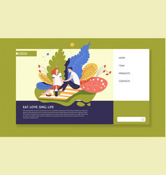 Relationship and outdoor activity online web page vector