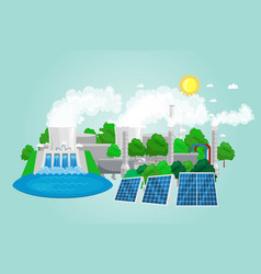 renewable ecology energy icons green city power vector image