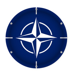 round metallic flag of nato with screws vector image