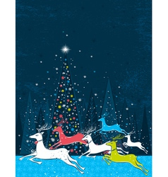 Running christmas deers in the blue forest vector