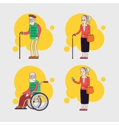 set of elderly characters Older people set vector image