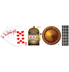 Set of poker cards and casino games vector image