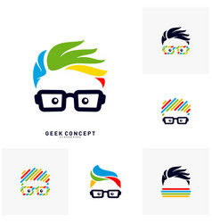 Set of social geek color logo concept colorful vector