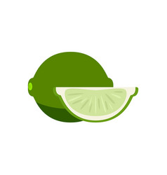 set slices lime isolated on white vector image