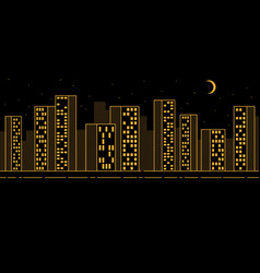 simple urban night landscape with skyscrapers vector image