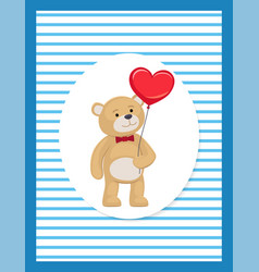 Soft teddy with heart shaped balloon in paw vector