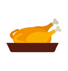 thanksgiving turkey food icon vector image