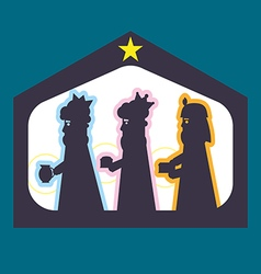 Three kings or three wise men silhouette vector image