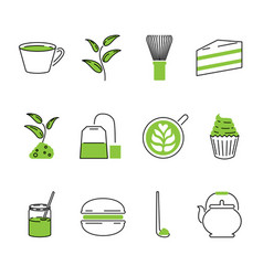 Traditional matcha tea outline icons set vector