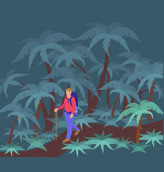 Traveler in night jungle man character walking vector