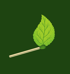 vintage icon match with leaf vector image