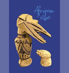 Vintage primitive woodenn statuettes a bird vector