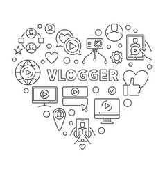 Vlogger heart in thin line vector