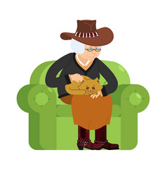 Western grandmother cowboy and cat sitting on vector