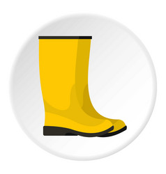 Yellow boots icon circle vector