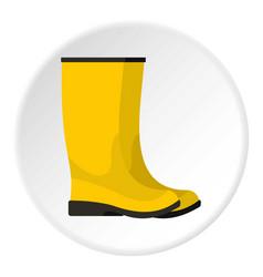 Yellow boots icon circle vector