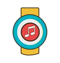 yellow square watch with workout and media icon on vector image