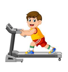 Young man in sportswear running on treadmill vector