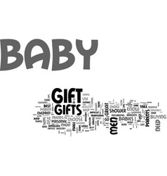 baby gifts a guide for men text word cloud concept vector image vector image