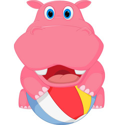 cute hippo cartoon playing ball vector image vector image