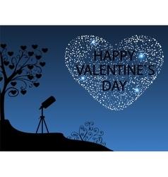 Happy Valentines day Romantic starry sky vector image