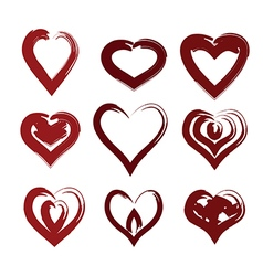 painted hearts set vector image vector image