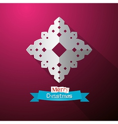 Paper Cut Snowflake on Violet Background vector image