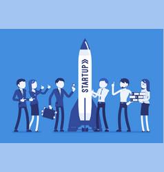 successful startup rocket vector image vector image