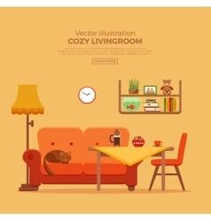 Living room cozy colorful cartoon interior vector image vector image