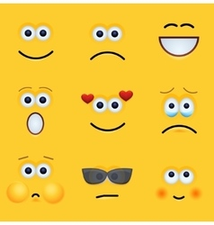 modern yellow face set background vector image vector image