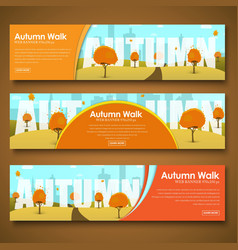 Set of web banners with autumn landscape vector image