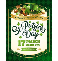 st patricks day vintage holiday frame for text vector image vector image