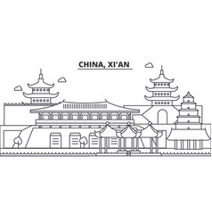china xian architecture line skyline vector image