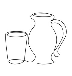 drink set one line drawing concept vector image vector image