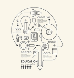 Flat linear Infographic Education Outline Pencil vector image