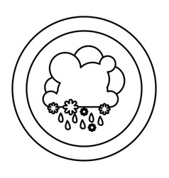 silhouette cloud rainning and snowing icon vector image