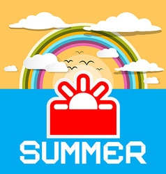Summer Retro Card Summer Ocean with Paper C vector image vector image