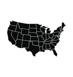 Usa map with states icon vector