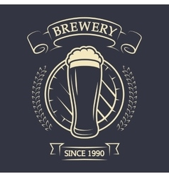 A glass of beer and barrel vector image