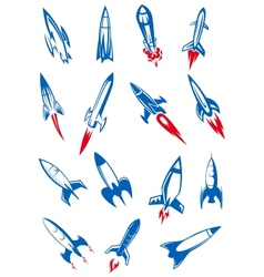 Cartoon blue space rockets and missiles vector image