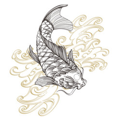 contour image of koi fish with wave japanese carp vector image