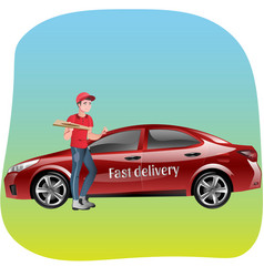 delivery man with pizza vector image vector image