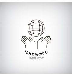 holding world logo eco protection of the vector image vector image
