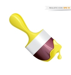 Paint brush realistic yellow icon vector image