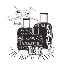 Vintage lettering baggage for travel travel vector