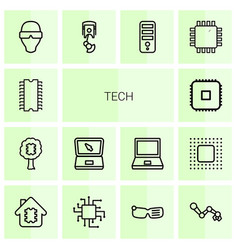 14 tech icons vector image
