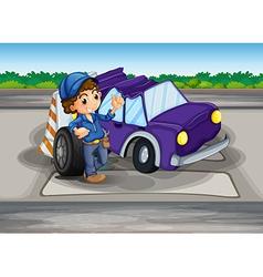 A pedestrian lane with a broken car and a young vector